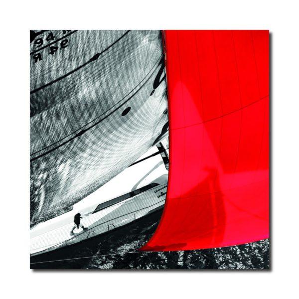 tableau voilier noir et rouge