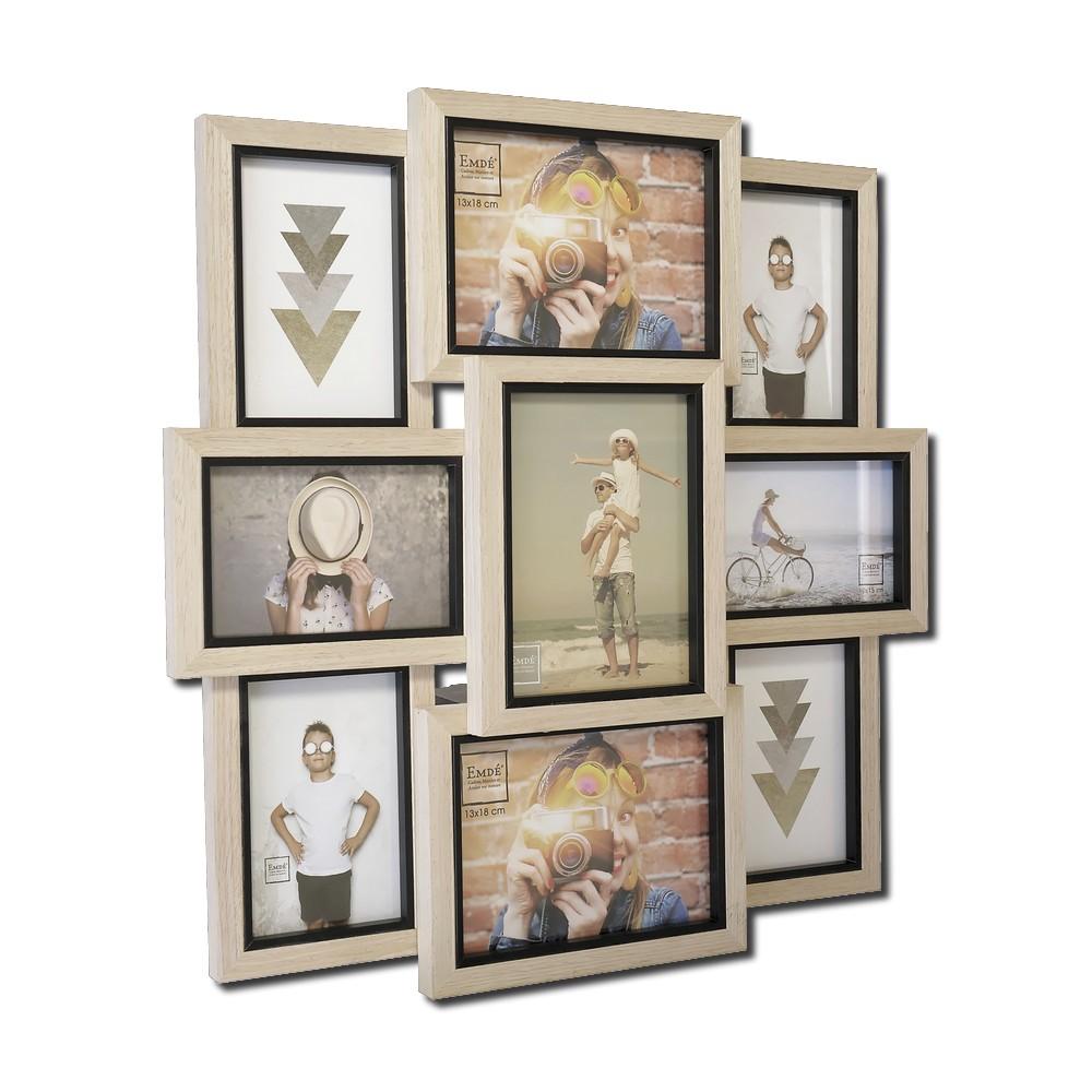 cadre multivues original en bois pour 9 photos 10x15cm/13x18