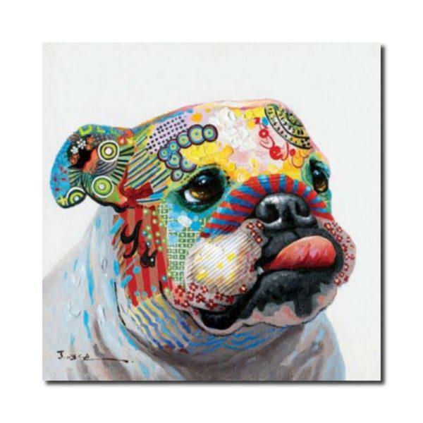 toile bulldog colorée