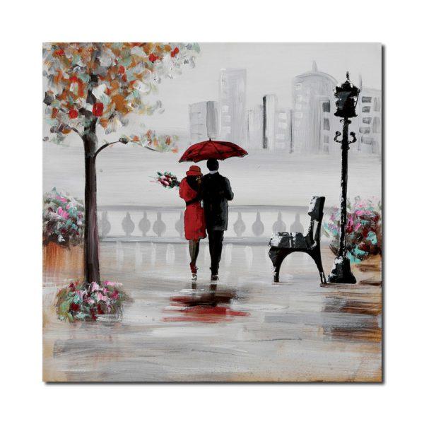 peinture figurative couple sous la pluie
