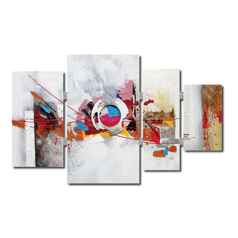 tableau quadriptyque abstrait multicolore