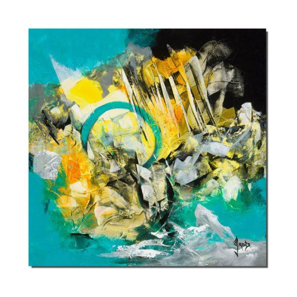 tableau abstrait plexiglas turquoise
