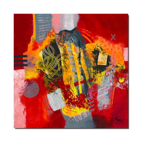 affiche abstraite rouge et jaune