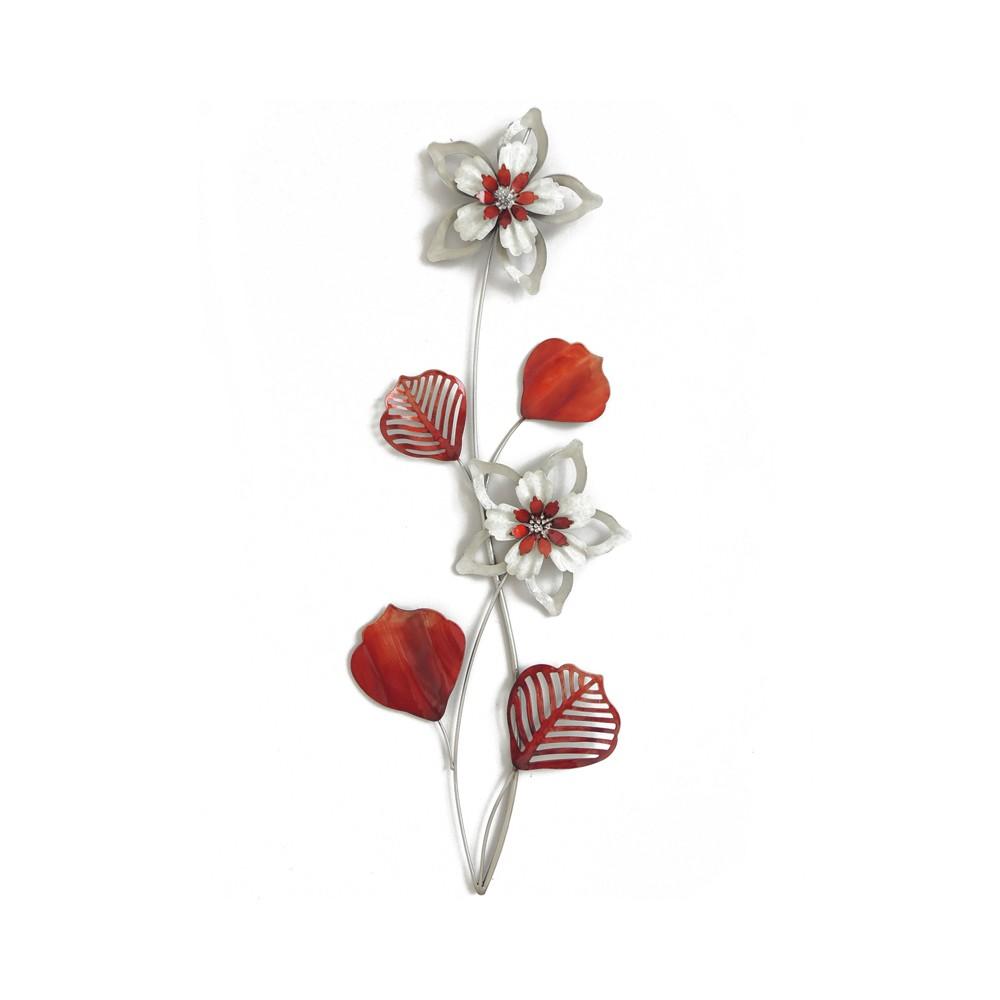 Decoration Florale Rouge Et Ecru
