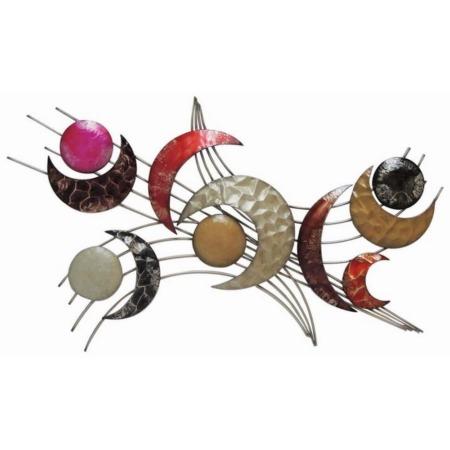decoration en metal lunes et ronds colores