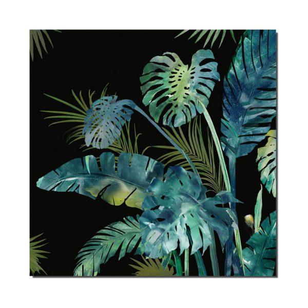 tableau feuilles noir, bleu et vert
