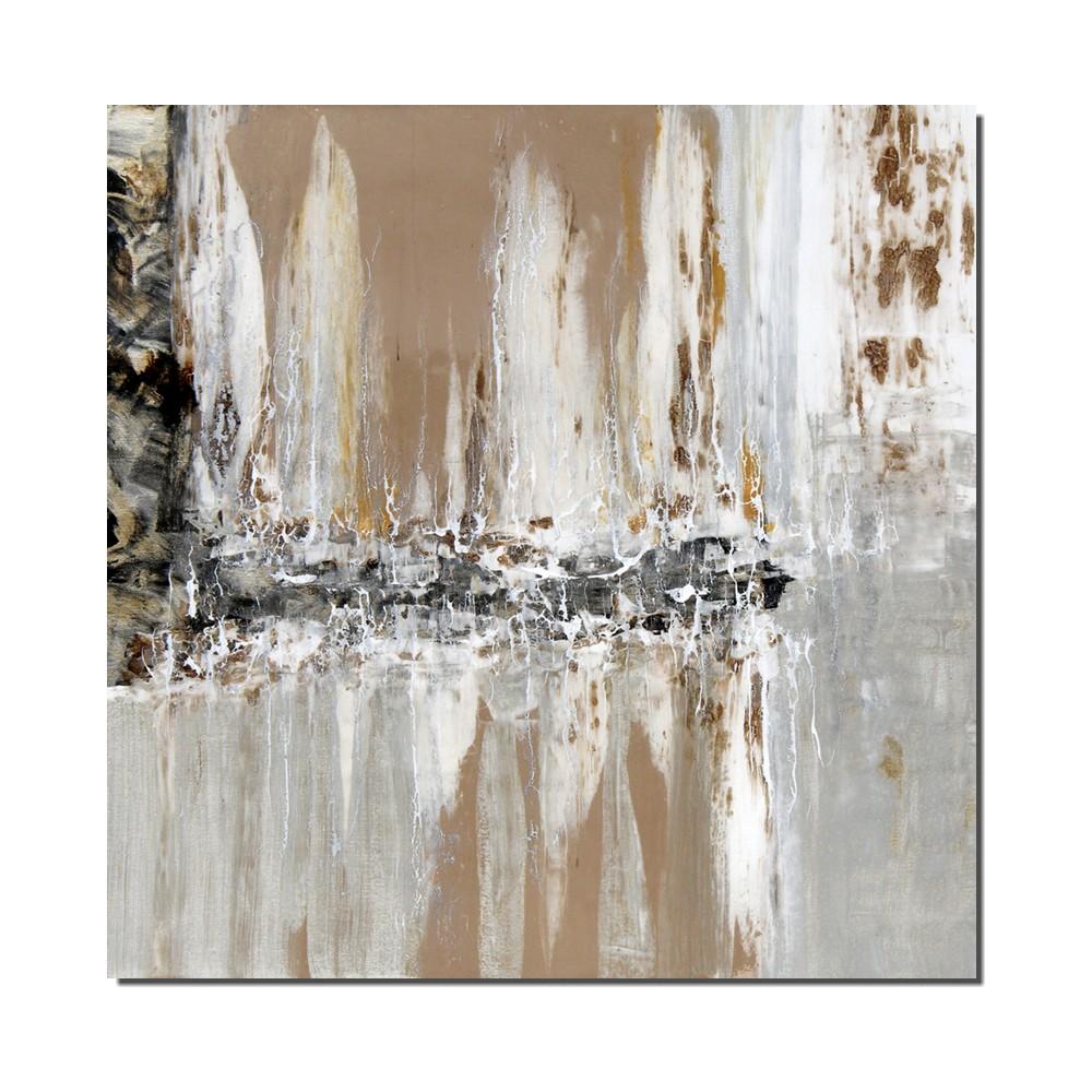 tableau abstrait beige et gris finition gloss dimension 80. Black Bedroom Furniture Sets. Home Design Ideas