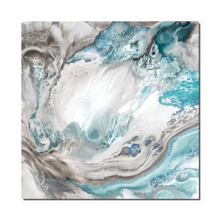 toile abstraite gris bleu finition gloss