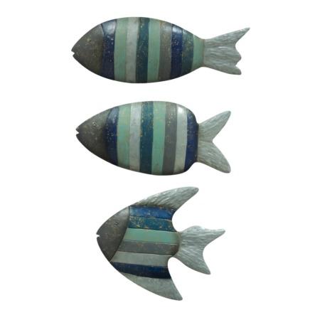 decoration murale poissons gris bleu