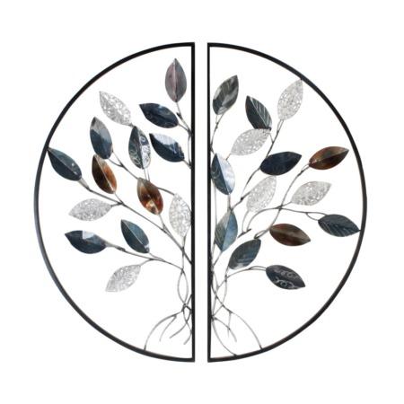 decoration murale arbre en 2 parties en metal