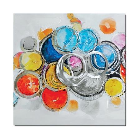 tableau abstrait avec cercles colorés