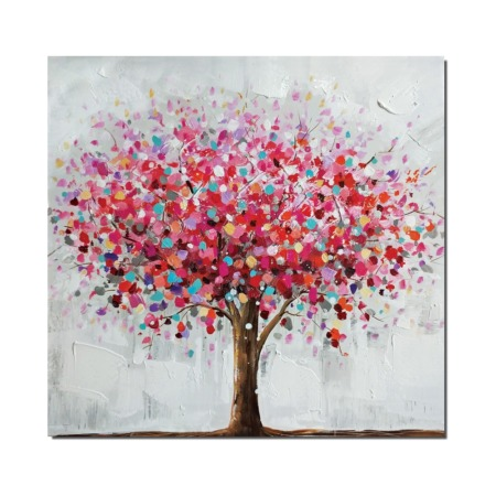 Peinture contemporaine arbre fleuri
