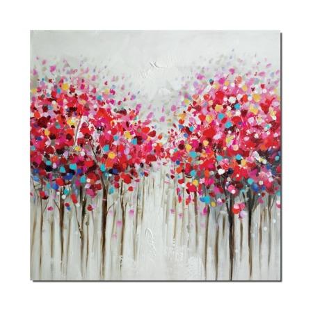 tableau contemporain arbres en fleur