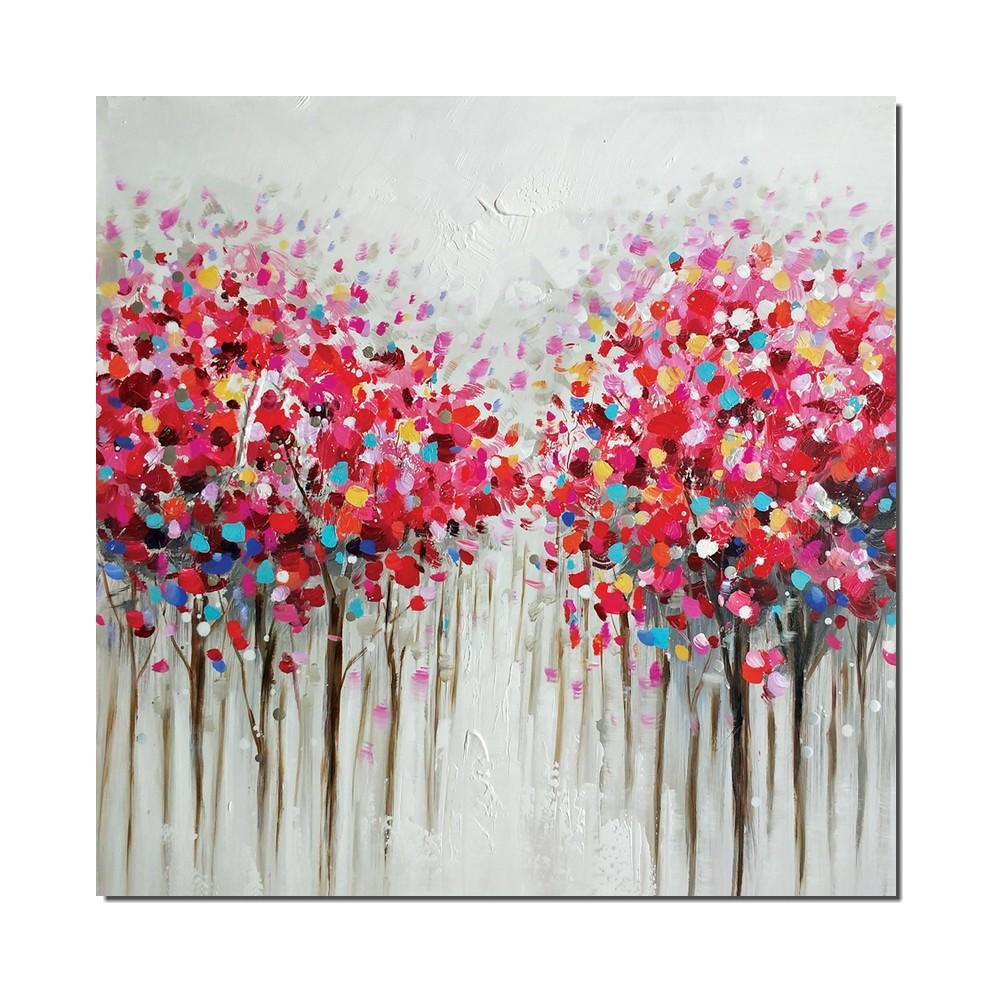 tableau contemporain arbres en fleur dimension 60x60cm. Black Bedroom Furniture Sets. Home Design Ideas