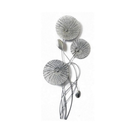 deco metal fleur argent