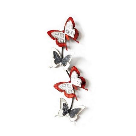 deco metal papillons rouges et ecrus