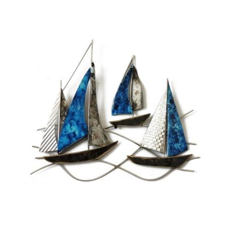 deco en metal bateaux bleus