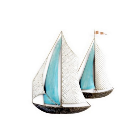 deco metal voilier bleu