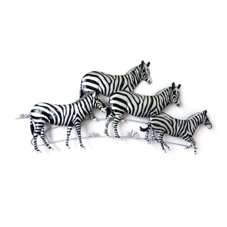 deco murale en metal zebre savane noir et argent
