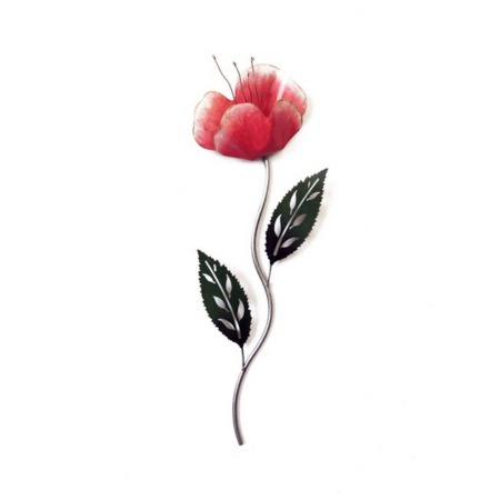 coquelicot rose en metal
