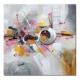 toile abstraite rose jaune