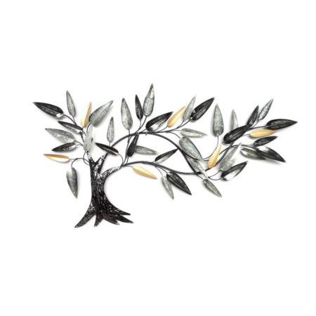 deco metal arbre noir argent