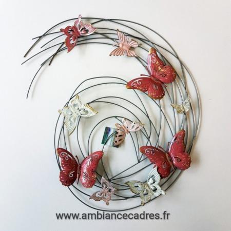 deco metal papillons rose