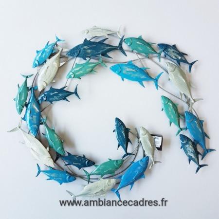 deco metal poissons bleu