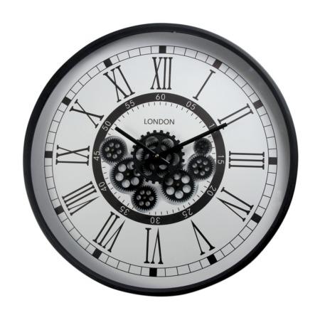 horloge ronde en métal noir et blanc
