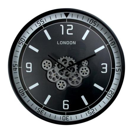horloge ronde noire a engrenage en metal