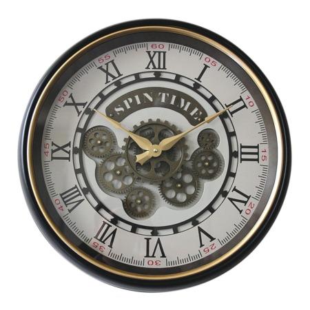 horloge ronde retro marron et dore