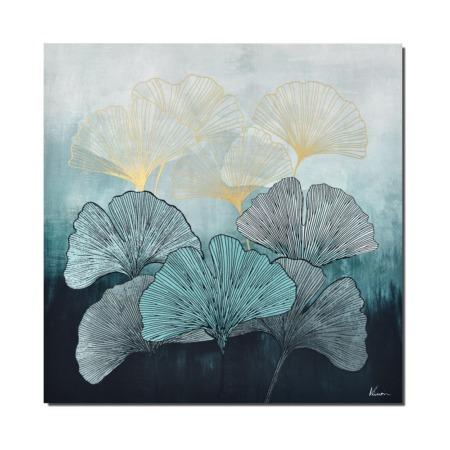 toile feuilles de ginkgo bleues