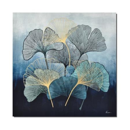 toile fleurs moderne bleues ginkgo