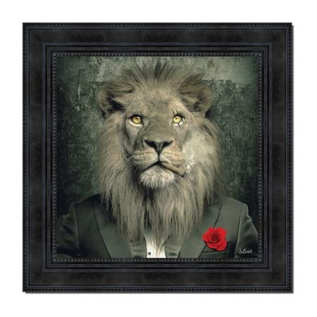 Tableau Lion Mafia S. Binet Fleur Rouge