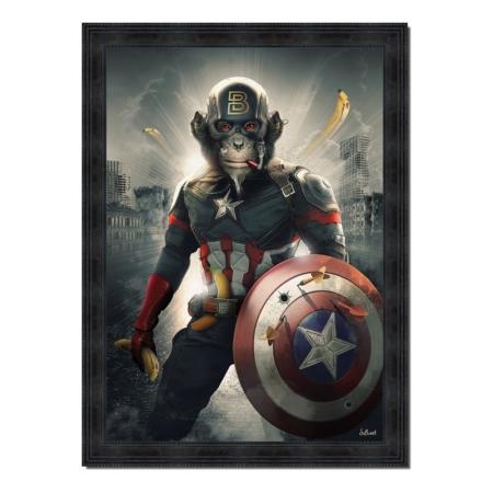 Tableau Singe Captain America de Sylvain Binet