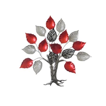 deco arbre noir et rouge en metal