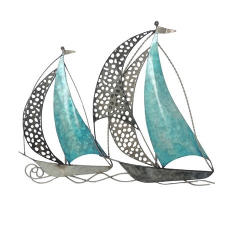 Deco voiliers bleu clair en metal