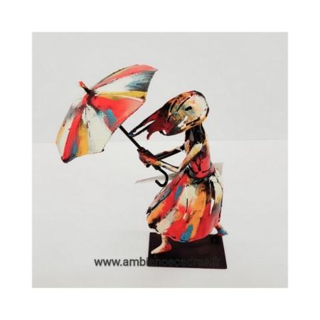 Statuette Femme au Parapluie en Métal