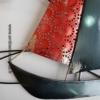 deco voilier en metal rouge et gris