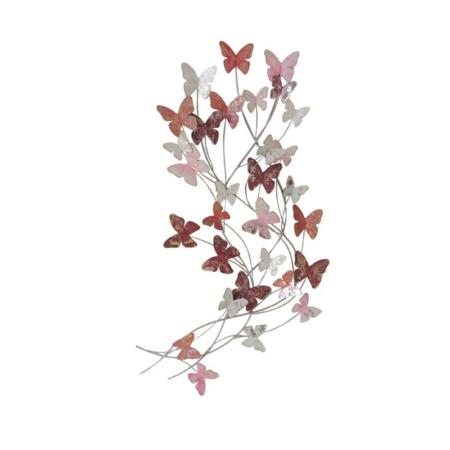 deco metal envol de papillons roses