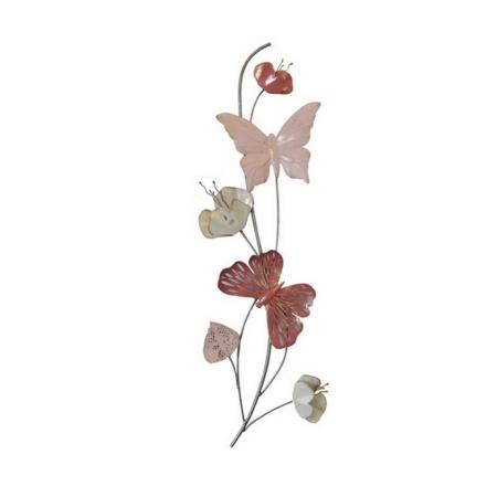 deco metal papillons et fleurs roses