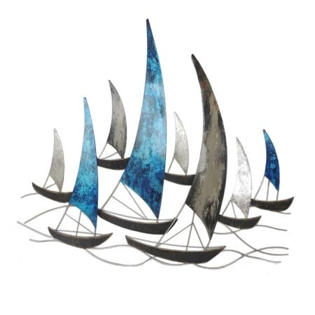 deco voiliers bleus et gris en metal