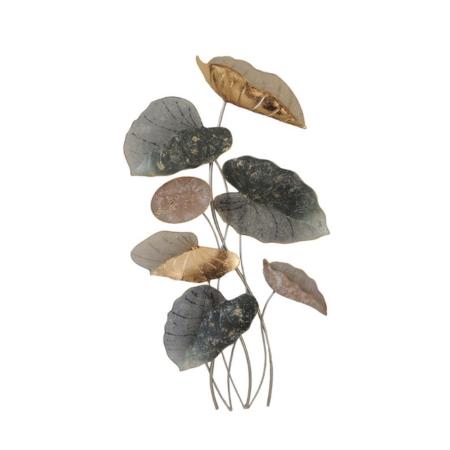decoration en metal feuilles mordorees