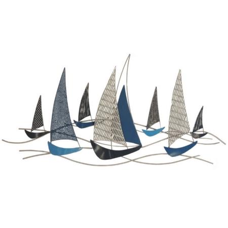 deco marine voiliers bleus en metal