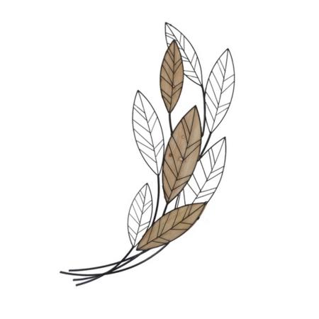 decoration en metal et bois feuilles