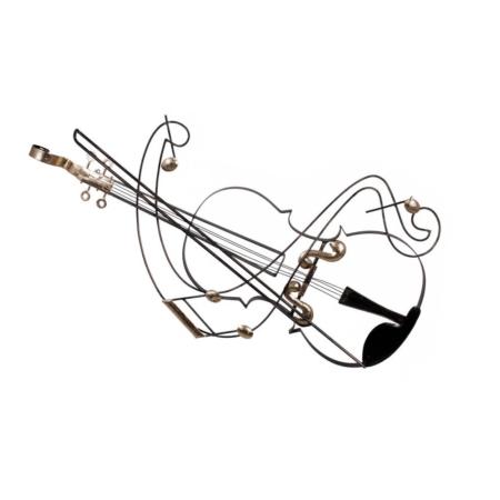 decoration violon en metal noir et or