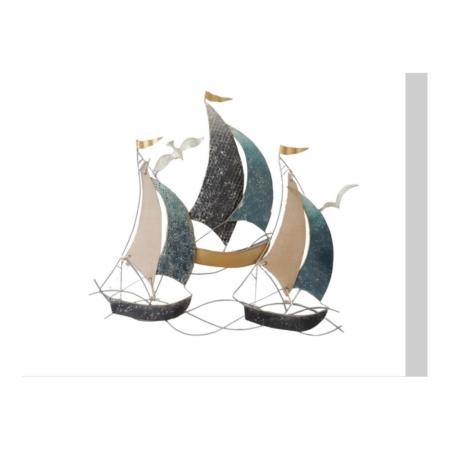 deco murale voiliers en metal et tissu