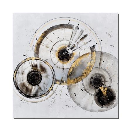 Tableau abstrait noir blanc doré