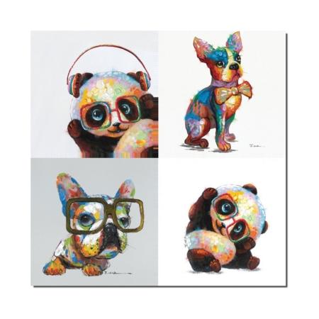 Tableau animaux panda chien humour
