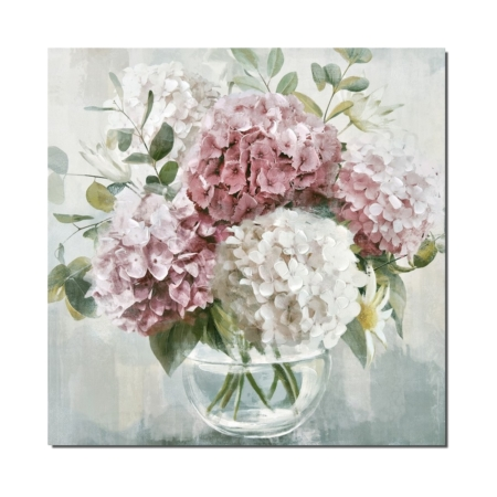 Tableau Bouquet Hortensias Blancs Roses